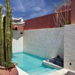 Pool, White Concrete Wall And Floor, Cacti