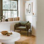 Reading Corner, Wooden Floor, White Wall, Glass Window, Bookshelves On Window Sill, White Round Table