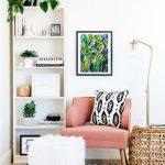 Reading Corner, Wooden Floor, White Wall, White Shelves, Rattan Table, Floor Lamp, Pink Chair, White Fur Ottoman