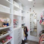 Small Closet, White Cabinet, White Shelves, Mirror, Long Rack