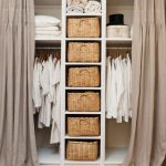 Small Closet, White Shelves, White Nook With Rod, Rattan Baskets