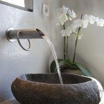 Stone Sink, Concrete Wall, Concrete Vanity, Metallic Faucet