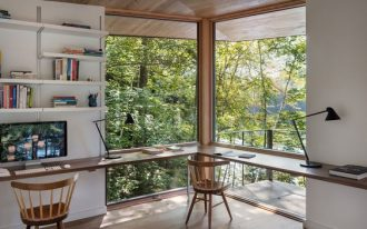 study, floating table in the corner, large glass window, floating shelves, wooden chairs