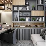Study, Grey Rug, Cream Wall, Grey Shelves, Grey Sofa, Grey Chair, Wooden Counter Table