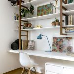 Study, White Floating Table, White Floating Shelves, Wooden Stairs, White Small Cabinet, White Midcentury Modern Chair