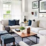 Traditional Living Room, Dark Blue Rug With White Lines, White Wall, Cream Sofas And Chairs, Dark Blue Stools, White Curtain, Wooden Coffee Table