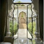 White Curvy Arch, Glass Doors, White Column, Marble Floor