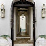 White Plain Arch Door, Black Door, Marble Floor, Hallway