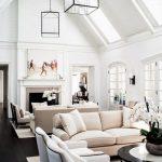White Wooden Vaulted Ceiling, White Wall, Black Wooden Floor, White Cream Sofa, Glass Cube Pendant