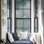 Window, White Built In Bench, Blue Cushion, Glass Window, White Pendant