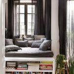 Window, White Wooden Floor, White Wall, White Shelves, Grey Cushion, Grey Pillows, Dark Grey Cushion
