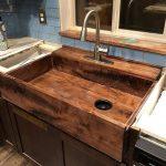 Wooden Sink, Blue Subway Wall Tiles, Wooden Cabinet