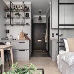 Apartment, Wooden Floor, Grey Wall, Wooden Table, Black Chair, White Bed, Black Framed Screen, Grey Cabinet