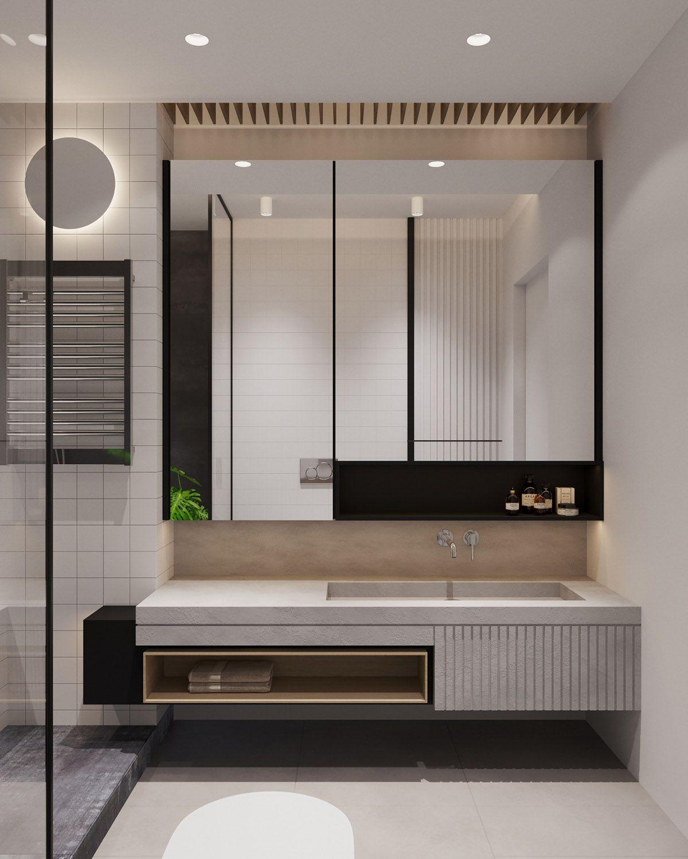 bathroom, cream floor, cream wall, grey floating vanity with shelves, mirror, glass partition