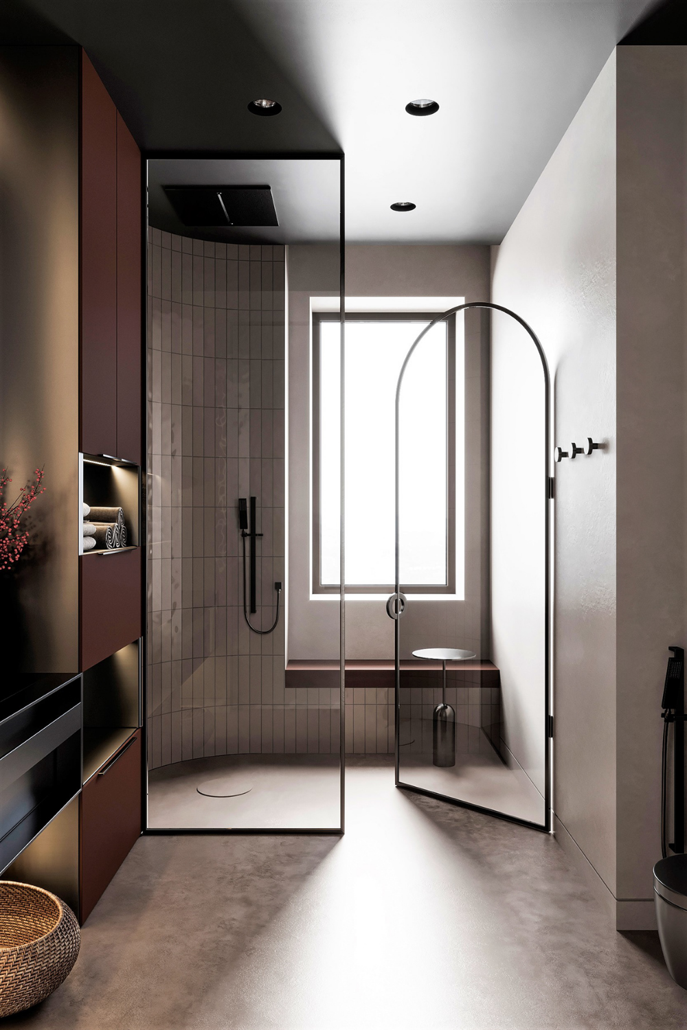 bathroom, creamy pink floor, white wall tiles, marroon wall shelves, black vanity, glass partition