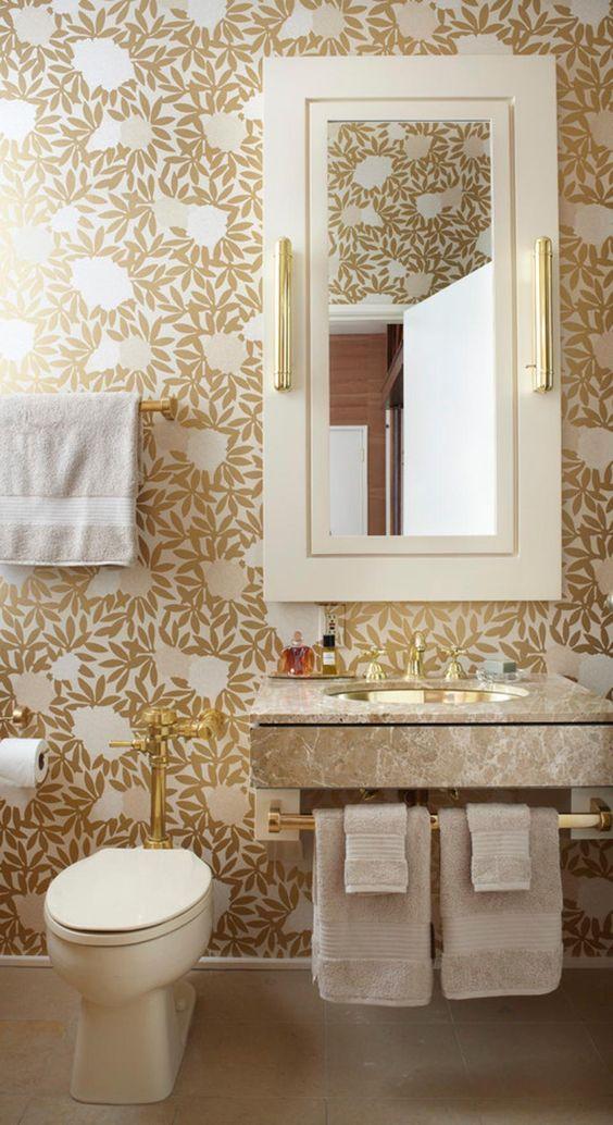 bathroom, golden flocks wallpaper, white frame mirror cabinet, marble floating sink, white toilet