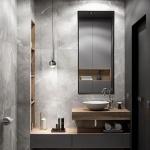 Bathroom, Grey Floor Tiles, Grey Wall Tiles, Grey Floating Vanity, Wooden Floating Vanity, White Sink, Indented Shelves With Wooden Cover