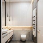 Bathroom, Grey Floor, White Cabinet, White Vanity Cabinet, Grey Counter Top, White Sink, Toilet