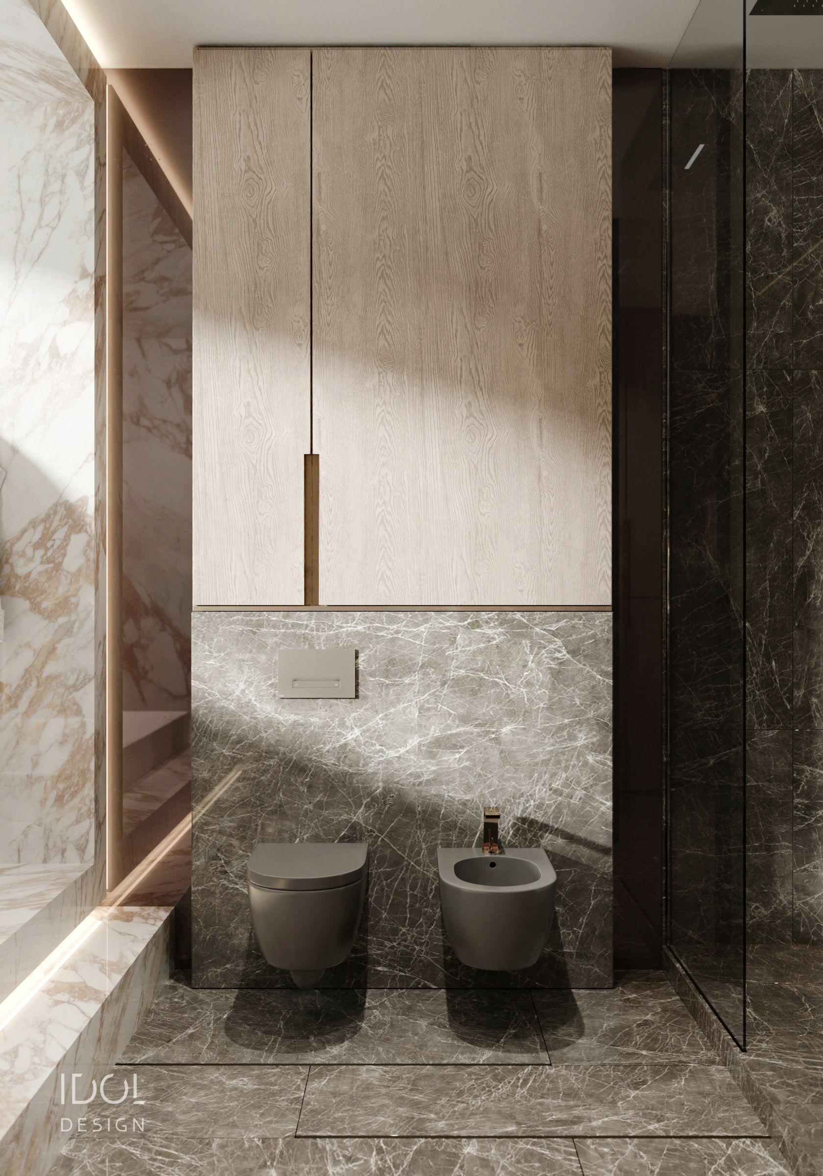 bathroom, grey marble on the floor, white marble on the wall, floating grey toilet, floating grey sink