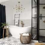 Bathroom, Patterned Floor Tiles, White Wall, Grey Subway Wall, White Tall Tub, Rattan Basket, Stool, Black Floor, Black Partition