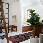 Bathroom, White Floor Tiels, White Wall, Wooden Tub With White Inside, Pattern Rug, Wooden Cabinet