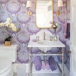 Bathroom, White Hexagonal Marble Floor Tiles, Purple Wallpaper, White Marble Vanity, Golden Framed Mirror, White Sconces