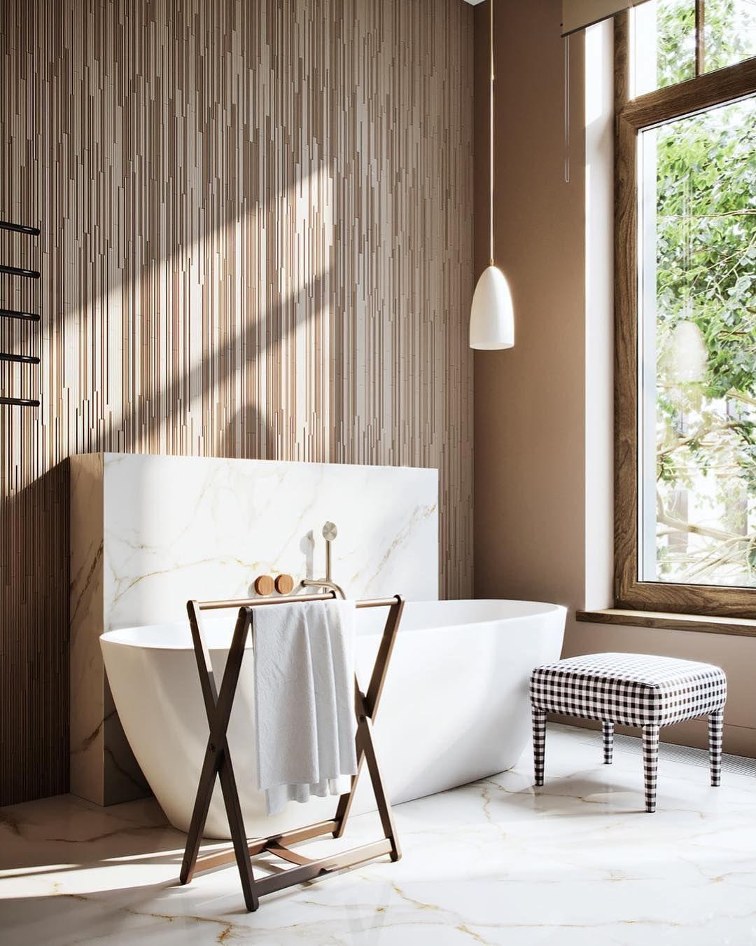 bathroom, white marble floor, golden lines on the wall, white pendants, cream wall, white marble partition, white tub, black white plaid ottoman