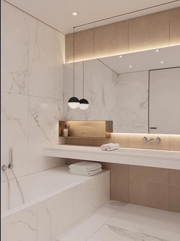 bathroom, white marble wall, white tub, white floating vanity, white sink, mirror, golden shelves, indented wall, white pendant