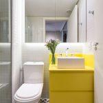 Bathroom, White Tiny Wall Tiles, Geometrical Floor Tiles, White Toilet, Yellow Cabinet, White Sink