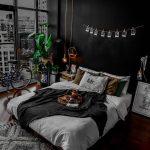 Bedroom, Black Accent Wall, Wooden Floor, White Bed, Side Cabinet, Wooden Platform, Grey Rug