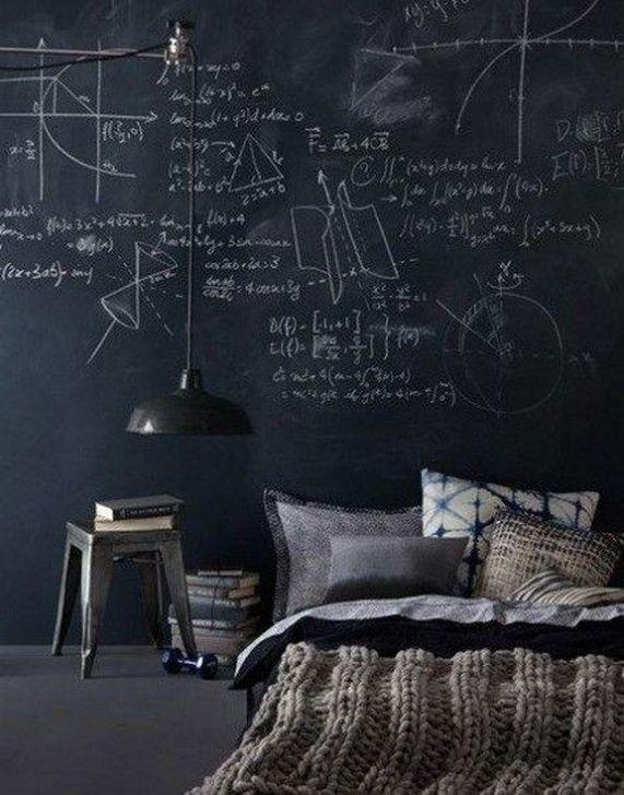 bedroom, black floor, black wall, black pendant, bed on the floor