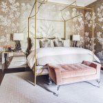 Bedroom, Black Floor, Grey Rug, Golden Wallpaper, Mirrored Side Cabinet, White Table Lamp, Golden Framed Bed Platform, Pink Tufted Bench