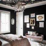 Bedroom, Black Wall, White Floor, Pink Velvet Bench, Chandelier, Rose Black Accent Ceiling