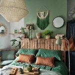 Bedroom, Green Accent Wall, Pendant, Wooden Headboard, Green Bedding, Rattan Chairs With Green Cushion
