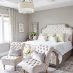Bedroom, Light Grey Wall, White Floor, Grey Rug, White Tufted Chairs, White Tufted Bed Headboard, White Round Pendant, Side Table
