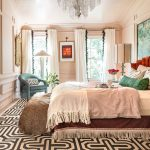 Bedroom, Patterned Rug, Cream Wall And Ceiling, Chandelier, White Curtain, Blue Chair, Grand Bed, Fu Bench
