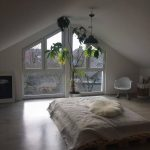 Bedroom, Seamless Floor, Vaulted Ceiling, Glass Window, White Rocking Chair, Wooden Bed Platform