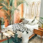 Bedroom, White Wall, Orange Wall, Grey Floor, Wooden Bed Platform, Wooden Side Table With Drawers, Bench, Plants, Window Screen
