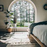 Bedroom, White Wall, Wooden Floor, Rug, Wooden Bed Platform, Half Round Glass Window