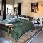 Bedroom, White Wooden Floor, White Wall, Green Bedding, Wooden Bench, Wooden Crate