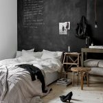 Bedroom, Wooden Floor, Black Accent Wall, White Wall, Wooden Table, Wooden Side Table, Pendants, White Bedding