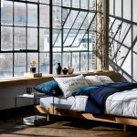 Bedroom, Wooden Floor, Concrete Wall, Glass Window, Wooden Bed Platform, Black Side Table, Wooden Window Seat
