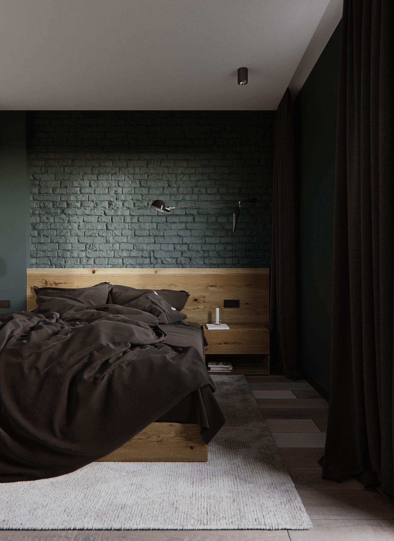 bedroom, wooden floor, green exposed wall, wooden headboard, wooden side table, wooden bed platform