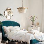 Bedroom, Wooden Floor, White Wall, Green Velvet Bed Platform, White Side Cabinet, Wooden Chair, White Chandelier