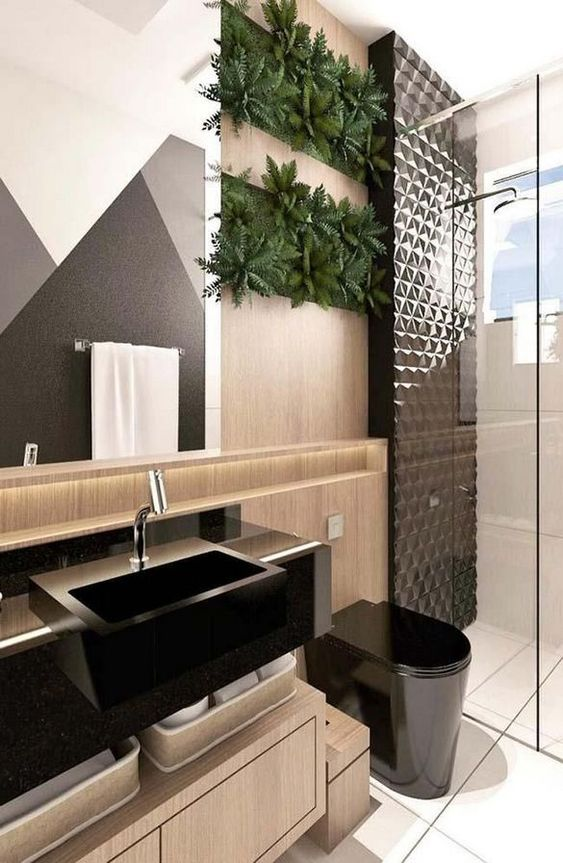 black bathroom vanity counter, wooden backsplash, wooden cabinet, black toilet, black textured shower wall, plants wall accessories