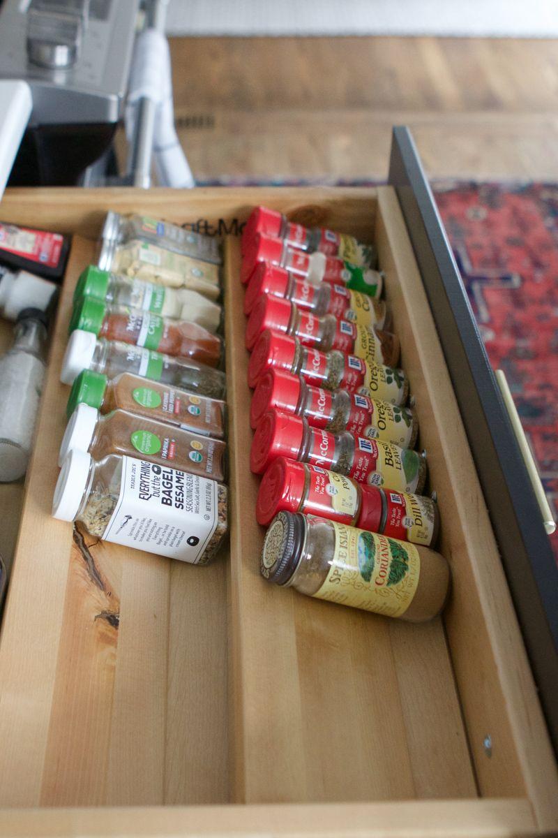 black drawer, horizontal shelves