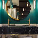 Black Marble Vanity, Green Wall, Brown Marble, Glass Pendants, Half Round Mirror, Black Indented Shelves, Golden Frame