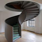 Black Stairs, Green Platform, LED Lights, Brown Floor Tiles