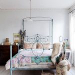 Blue Metal Bed Frame, White Wooden Floor, Dark Brown Wooden Cabinet, White Side Table, Carpet