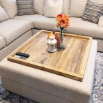 Brown Square Ottoman With Wooden Tray, Brown Sofa, Patterned Rug